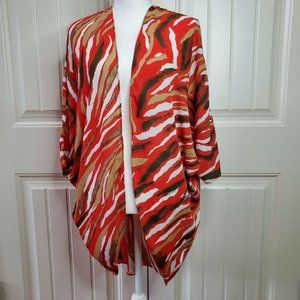 C Apparel Womens Red Multicolor Open Front Shrug S